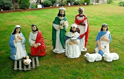 "Vtg Tall 48"" High Blow Mold Nativity Set Christmas Outdoor Yard Blowmold"