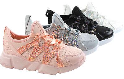 Neu Kinder Sportschuhe Glitzer Sneakers Neon Turnschuhe für und Mädchen Leicht