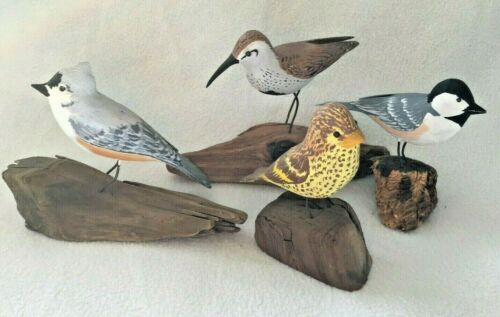 4 SIGNED Hand carved Wooden Bird Figurines SCULPTURE on Driftwood Base LOT GIFT