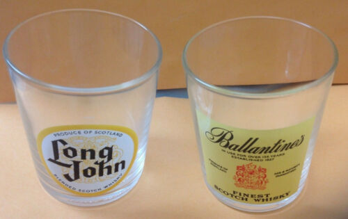 Vintage Scotch Whiskey Glass Set of 2 - made in France, Ballantine