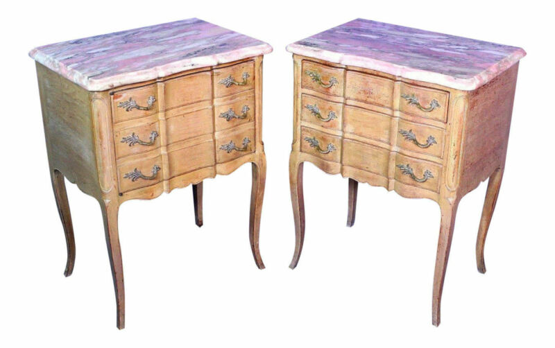 Louis XV Marble Top Side Tables Nightstands End Commode Server Chest of Drawers