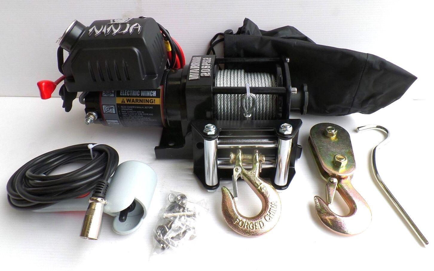 2000lb WARRIOR NINJA 12v Winch for ATV Trailer etc
