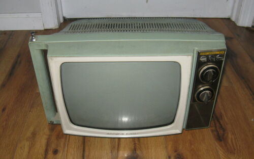 "Vintage 1960s Motorola Cadet Portable Television Blue White Rare TV UHF 12"""