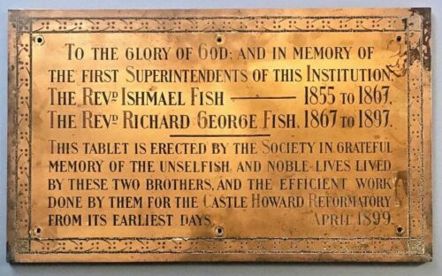 Large Solid Bronze Dedication Plaque Castle Howard Reformatory for Boys 1899