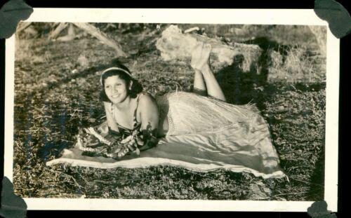 1940 Pretty Hula Girl on blanket Hawaii photo