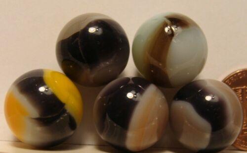 5 Marbles Vintage Vitro Agate Blackies W HTF Soft Lavender Beautiful Group