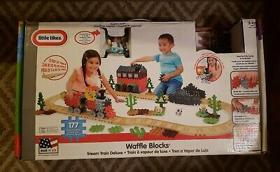 Little Tikes Waffle Blocks Steam Train Deluxe 12 ft Track Real Steam 177 Pcs new Little Tikes Train