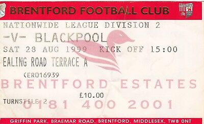Ticket - Brentford v Blackpool 28.09.1999