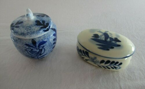 Chinese Miniature Ceramic Jars with Lids Set of 2 Vintage Windmill and Birds