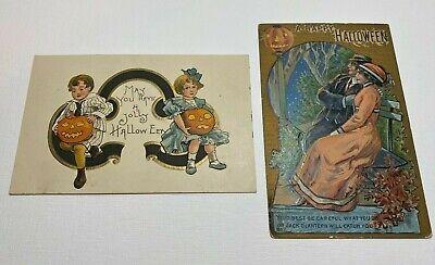 2 Vtg Embossed Halloween Postcards Early 1900's.