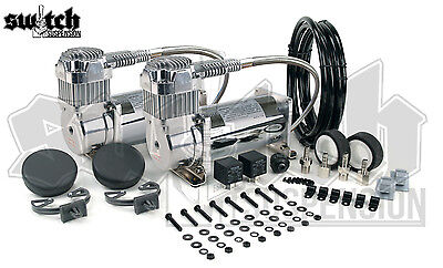 Viair 400c Chrome Air Compressors Dual Package w/ Relays 110-145 PSI Switch