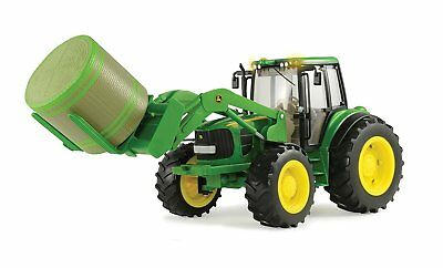 New Big Farm Series 7330 Tractor W Bale Mover   Bale  Lights   Sounds  Lp51314