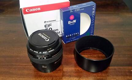 Canon EF 50mm f/1.4 USM Lens with B+W 58mm UV Filter and Hood