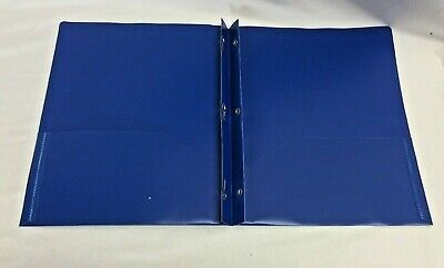 10 Pk Plastic Pocket Folders 2 Pockets Metal Prong Fasteners Blue School