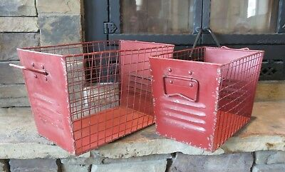 Locker Storage Bins (Set of 2 Vintage Style Red Locker Baskets, industrial, bins,)
