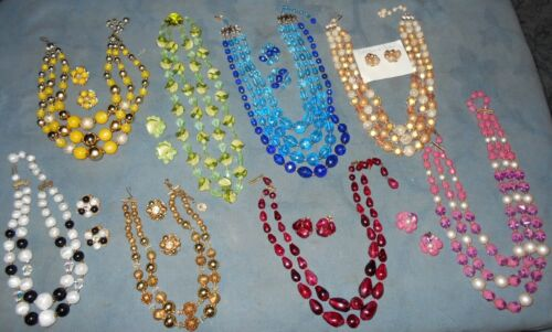 Great Variety  8  Sets  Multi-Strand Beaded Necklaces with Matching Earrings