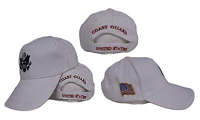 Active Duty White US Coast Guard Embroidered baseball Hat Cap Guard White Hat