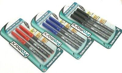 3 Packs 9 Pens Promarx Ultra Fine Multi Colored Black Red Blue Ink 0.5mm