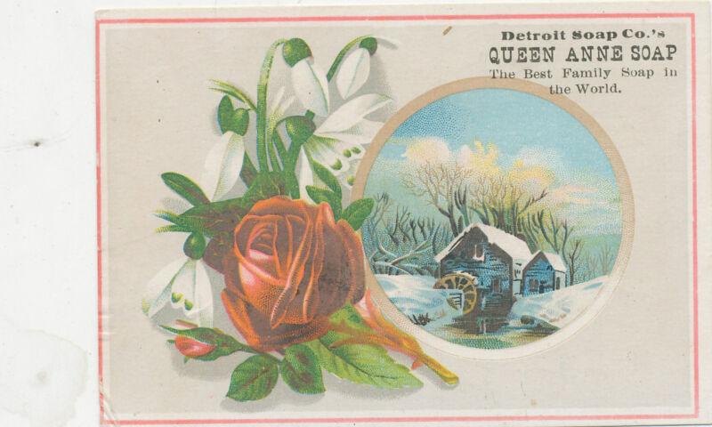 D1850 VICTORIAN TRADE CARD DETROIT SOAP CO QUEEN ANNE