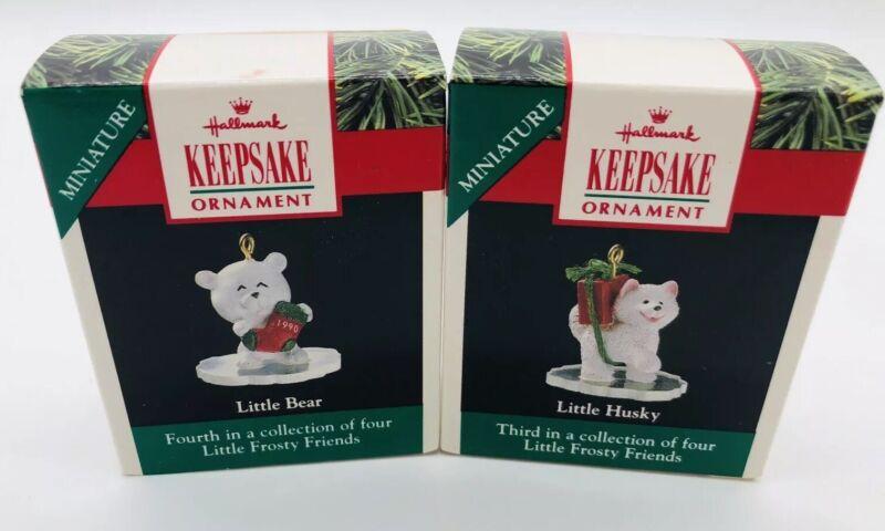 Hallmark Keepsake Miniature Ornaments Little Frosty FriendsBear and Husky 1990