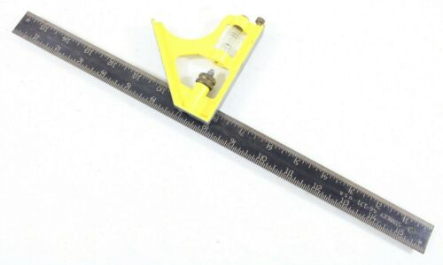 """Vintage Stanley Tools 46-131 Yellow Combination Square 16"""" Black Scale Blade USA"""
