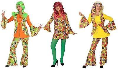 g Kostüm Flowerpower Damen Hippie Perücke Disco Party Kleid (70er-80er Jahre Kostüme)