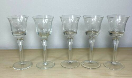 Set of 5 VINTAGE Etched Stemmed Cordial Sherry Small Wine Glasses