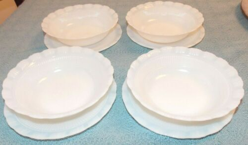Vintage Macbeth Evans Milk Glass Oxford 4 Berry Bowl & 4 Bread/Butter Plates