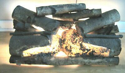 Vintage Real Birch Wood Electric Faux Fireplace Logs Glowing Light Up  Birch Fireplace Logs