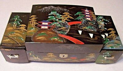 Vintage Japan Black Lacquer Music Jewelry Box Dancing Geisha Mirror Hand Painted