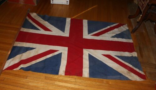 ANTIQUE Great Britain Union Jack FlagOn Wood Pole England British Made Flag