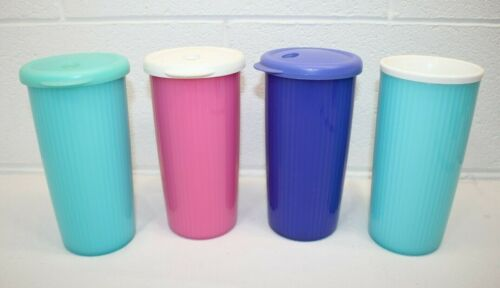 Tupperware Lot of 4 Insulated 24 Oz Cups Tumblers #3329A, 3 with Lids! CLEAN!