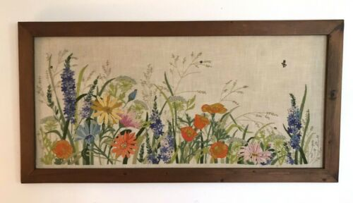 """HUGE 44x23"""" 60s/70s Framed Vintage Crewel Floral Wildflower Embroidery GORGEOUS"""