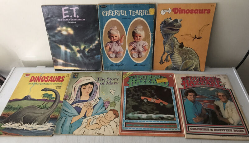 Lot Of 7 VINTAGE Coloring + Story Books Dukes Of Hazzard ET Dinosaurs & MORE