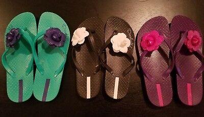 Women Girl Flower summer Jelly Thong Sandals Flip Flops