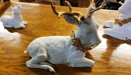 3 Porcelain Reindeer White And Gold Christmas Decorations Beautiful