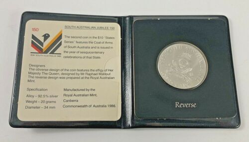 1986 AUSTRALIAN $10 UNCIRCULATED COIN STATE SERIES SOUTH AUSTRALIAN JUBILEE
