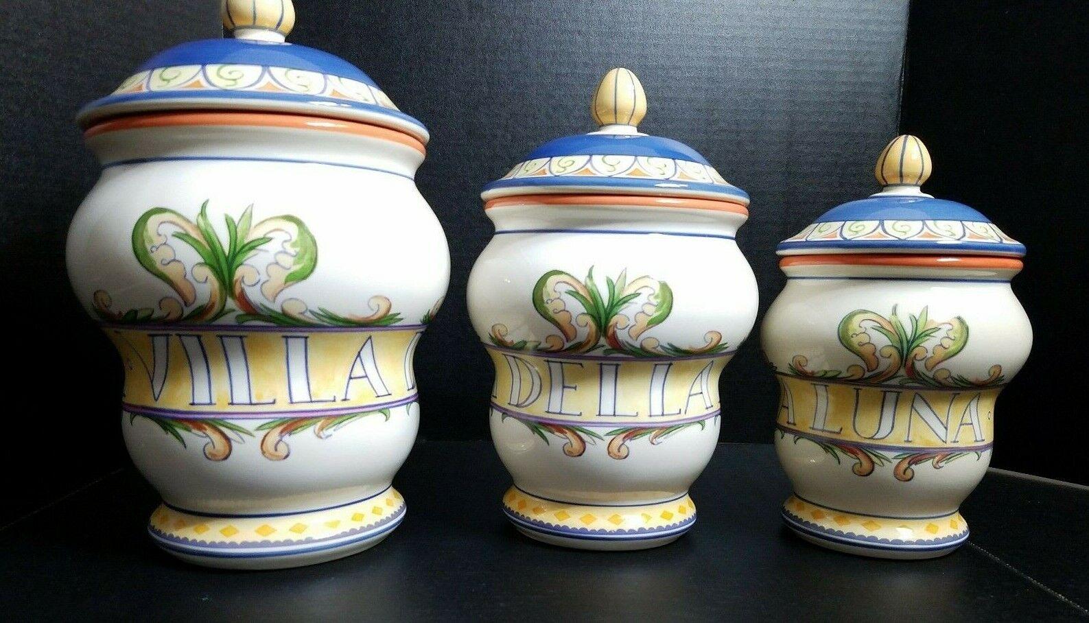 Pfaltzgraff Villa Della Luna Large 3 Piece Storage Canister Set Excellent  - $124.95