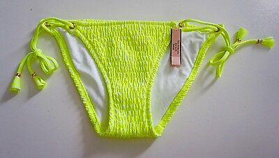 Victorias Secret Neon Lemon Bali Side Tie Smocked String Swim Bikini Bottom (String Tie Bikini Bottom)