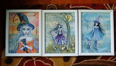 3 Molly Harrison Witches Cats Art Prints Framed Watercolor Mixed Media Halloween