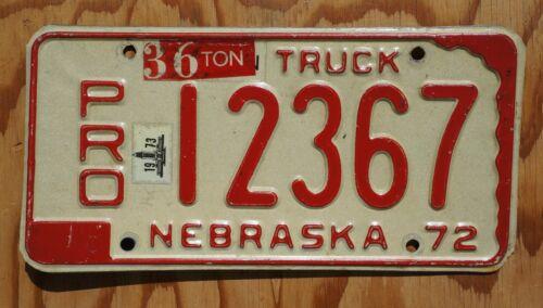 1972 1973 Nebraska License Plate PRO # 12367