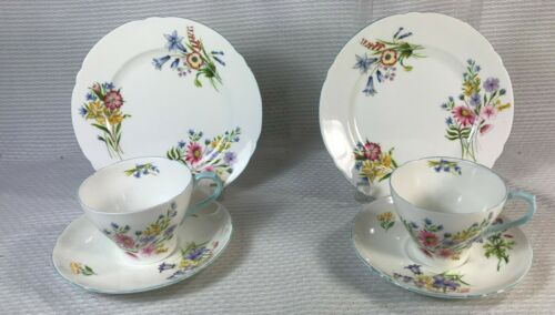 2 SHELLEY BLUE TRIM WILD FLOWERS PLATES, CUPS AND SAUCERS 13668 PLATE CUP SAUCER