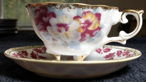 Vintage Floral Napco Footed Teacup & Saucer Hand Painted IDD240 *Great Condition