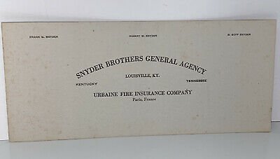 Vintage 1920s Snyder Brothers General Agency Insurance Louisville KY Ink Blotter