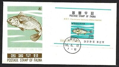 Korea, Two Corvina Fish Cachet FDC First Day Covers Souvenir Sheet & Stamp 1966