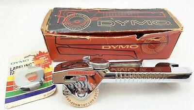 Vtg Dymo M-5 Tapewriter Chrome Label Maker Embosser Original Box Black 38 Tape