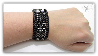 EPDM rings woven with thick stainless steel rings make wonderful unisex statement jewellery!