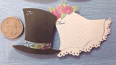 WEDDING GIFT TAG STICKERS (3pc)Wedding Cake•Rings •Dress•Tux•Flowers - Gift Tag Stickers