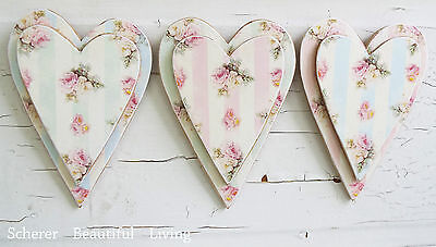 Sloppy Shabby Rose Hearts Plaque Chic Wall Art Home Decor Pastel Colors