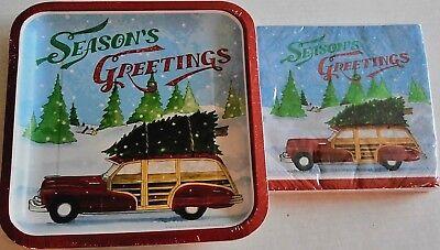 CHRISTMAS Luncheon Paper Plates & Napkins VINTAGE RED WOODIE W/ CHRISTMAS TREE  Christmas Paper Luncheon Plates